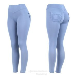 Buttrmelon Denim Blue Pocket Shaping Leggings